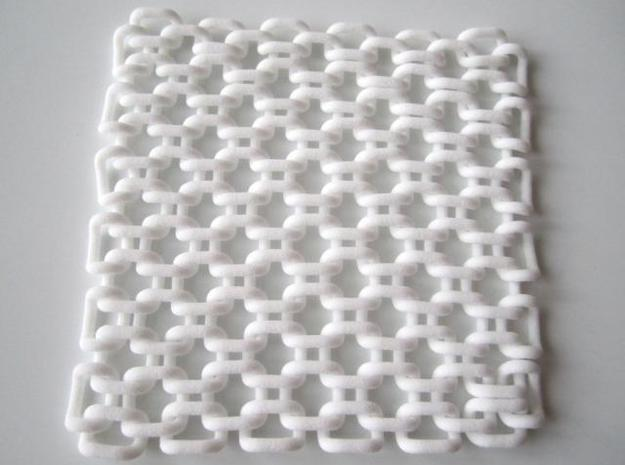 Square Fabric v1 3d printed In White Strong and Flexible (top view)