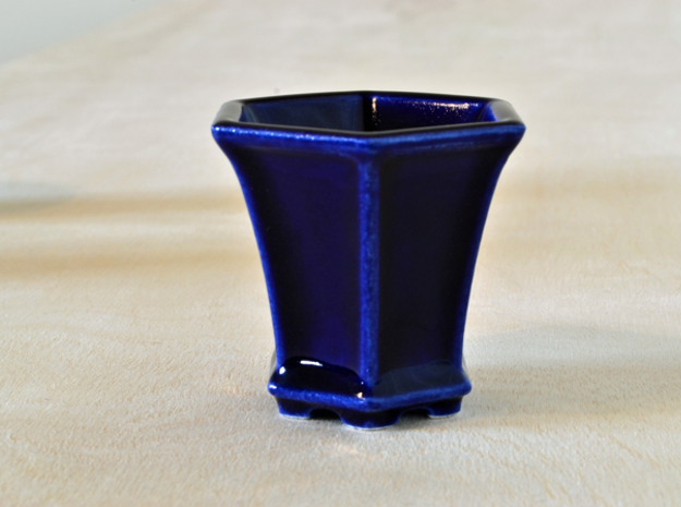 Hexagonal Bonsai-Style Shot Glass 3d printed Shown in Cobalt Blue glaze