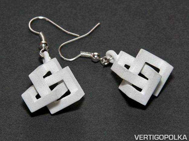 Cubic Knot Earrings 3d printed Cubic Knot Earrings WSF
