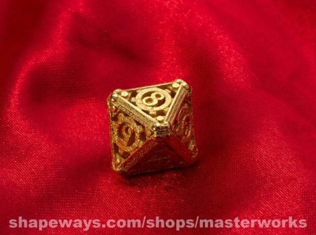 Steampunk d8 3d printed Gold Plated Glossy