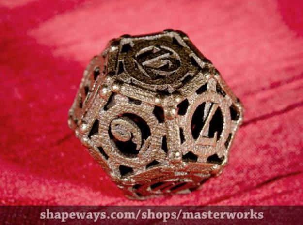 Steampunk d12 3d printed Antique Bronze Gloss