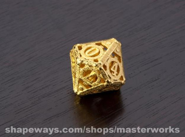 Steampunk d10 3d printed Gold Plated Glossy
