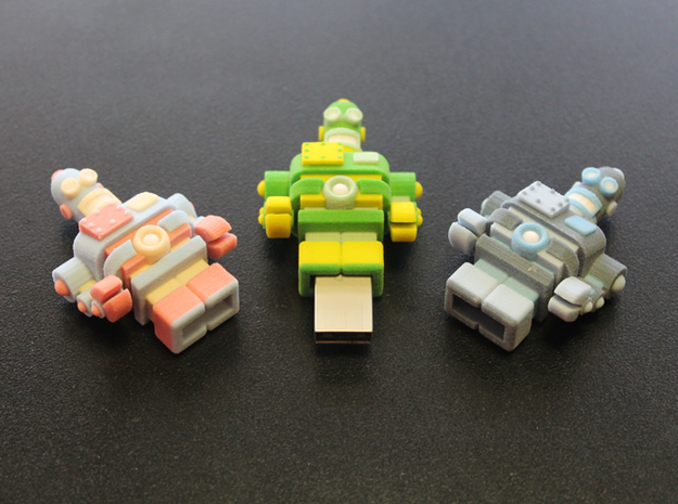USB Robot's Army 3d printed and insert an USB drive
