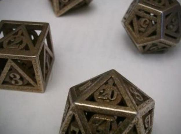 Deathly Hallows Dice Set 3d printed Customer photograph of Polished Bronze Steel