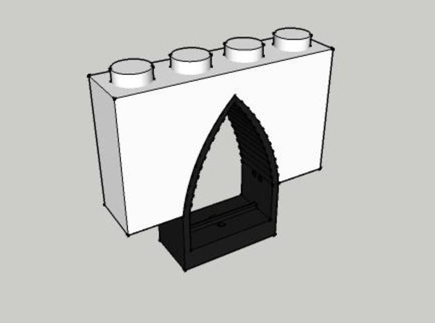 Window Frame for Gothic Arch 4 x 2 x 1 3d printed in combination with arch brick