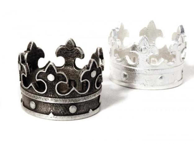 Crown Ring (various sizes) 3d printed Silver (blackened), right original