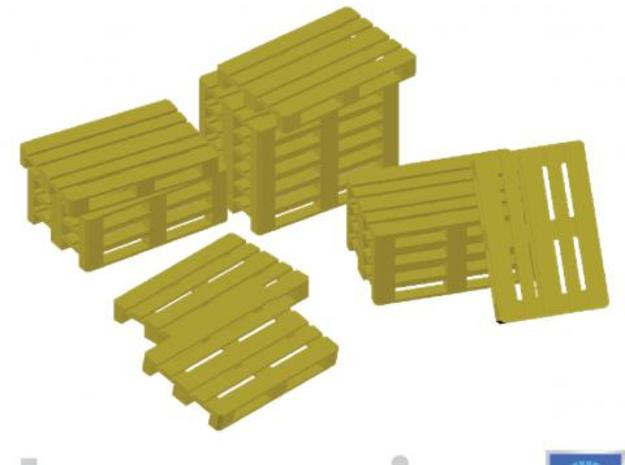 Europallets 100 pieces 3d printed Impression of a few Europallets