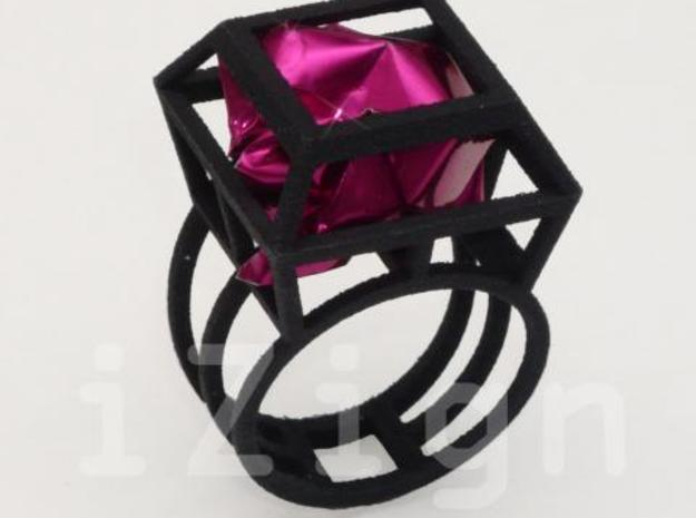 ring06 21 3d printed Black Strong & Flexible dressed up with a pink wrapper (not included)