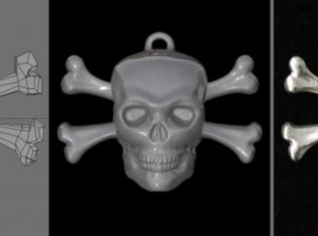 skull and bones pendant 3d printed rendering vs photo