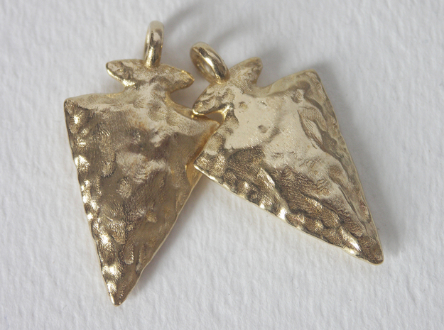 Arrowhead Earrings / Pendants 3d printed Raw Brass