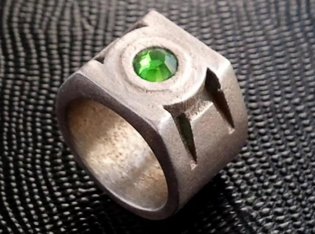 Green Lantern Ring size 12 3d printed Ring with crystal setting