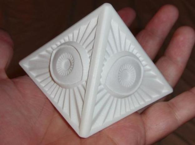 Illuminati -Prime v1a 3d printed The Prime printed in White, Strong, and Flexible. Top Side.