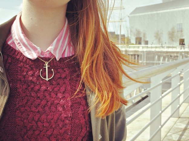 Brass Neck Anchor 3d printed Necklace