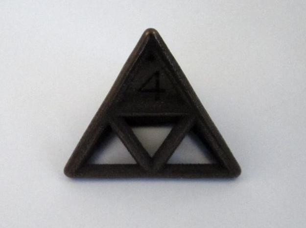 D4 Cage Dice 3d printed In Antique Bronze Glossy (front view)
