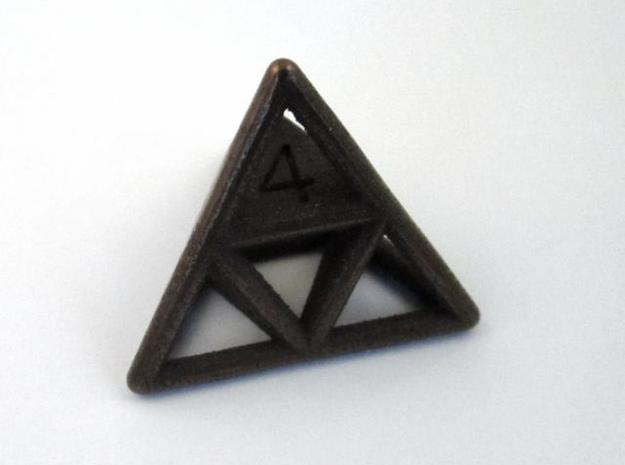 D4 Cage Dice 3d printed In Antique Bronze Glossy (perspective view)