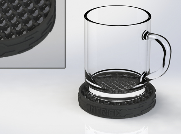Diamond-structure coaster 3d printed Render with close-up (glass not included)