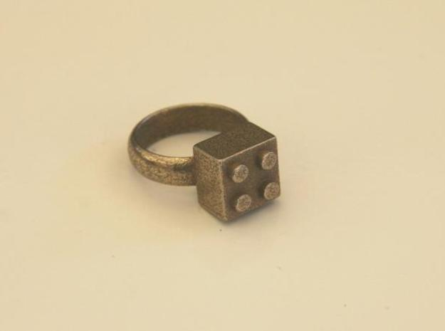 Building Blocks Ring 3d printed Stainless Steel