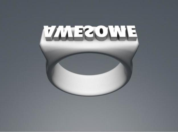 """Awesome""-punch ring 3d printed ""AWESOME"""
