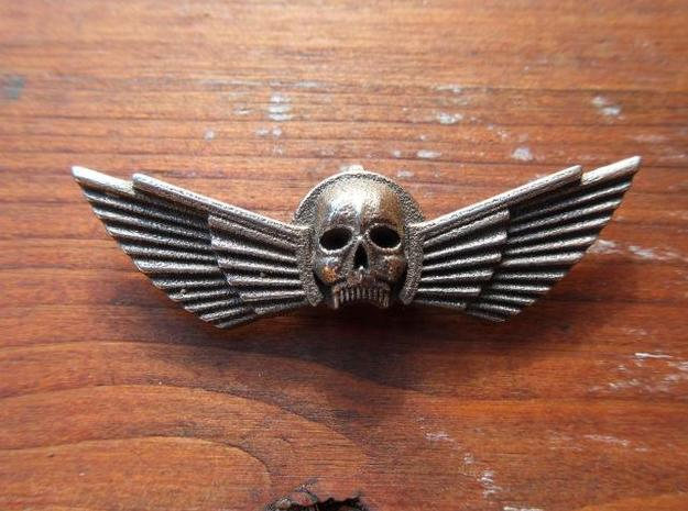 Winged Skull Pendant 6Cm 3d printed Raw Stainless Steel ,slightly polished