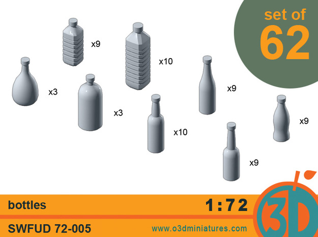 Bottles 1/72 scale SWFUD-72-005 3d printed set contents