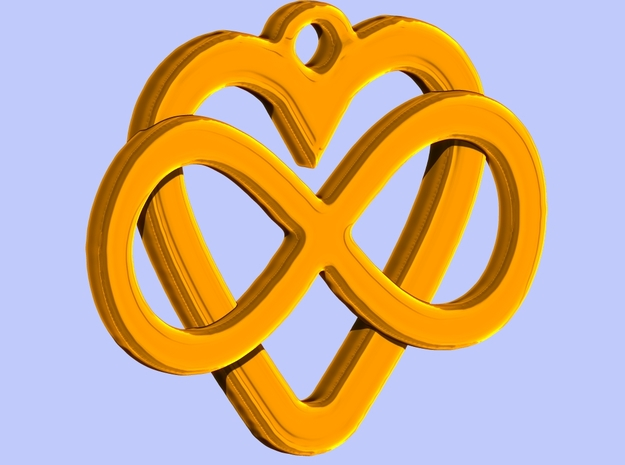 Infinity Heart Pendant 3d printed Render in Polished Brass