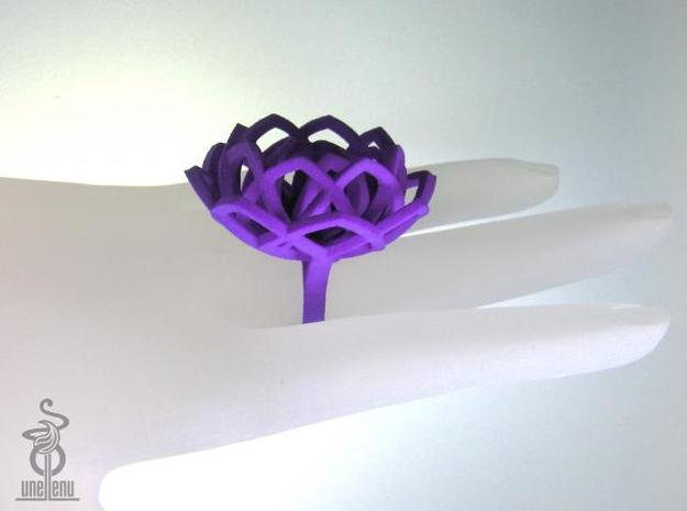 Transcendence Lotus Ring, adjustable size Xlarge 3d printed
