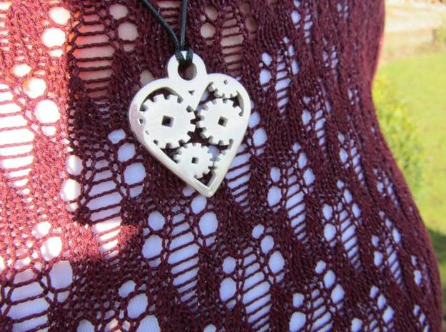 """Love Machine"" pendant 3d printed silver glossy finish"