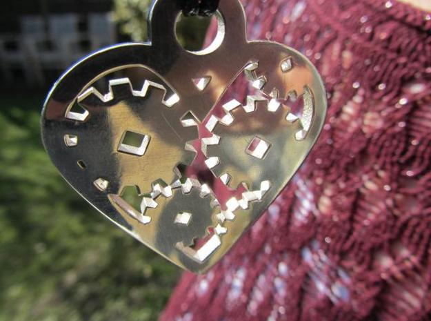 """Love Machine"" pendant 3d printed surface detail in silver"
