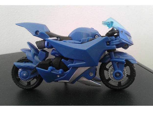CHROMIA homage Tempest Set for RID 3d printed Tempest Head enclosed in a Deluxe TF Prime Arcee alt mode