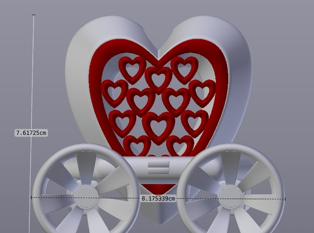 Heart Carriage Flower Holder 3d printed