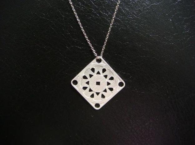 Square Pendant or Charm - Suspended Coin 3d printed Silver - Chain not included