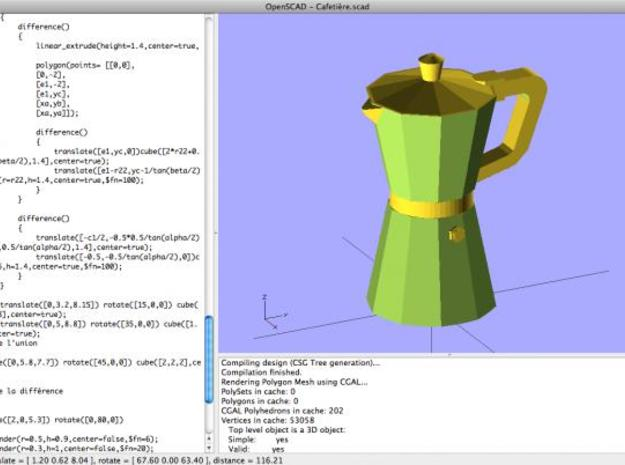 Italian Coffee maker pendant 3d printed The OpenScad file