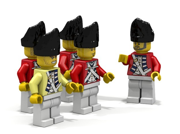 5 x British Grenadier 3d printed British Grenadiers (Render of an example Usage)...