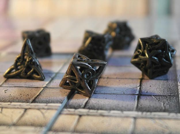 Celtic Dice Set 3d printed Printed in Polished Grey Steel