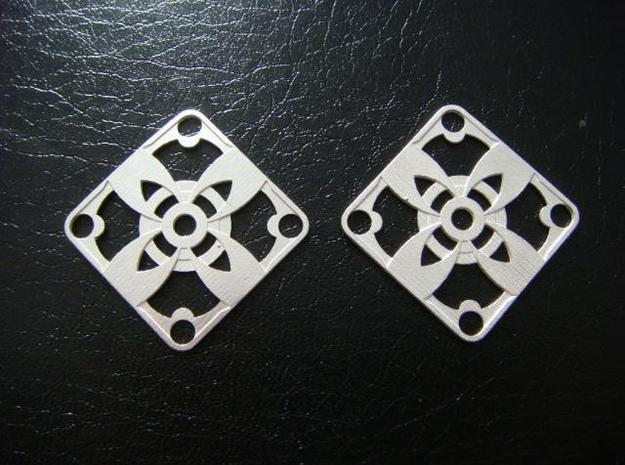 Elegant Earrings - Four Petal Flower 3d printed Sterling Silver