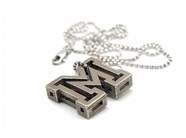 Letter M Pendant 3d printed Stainless Steel