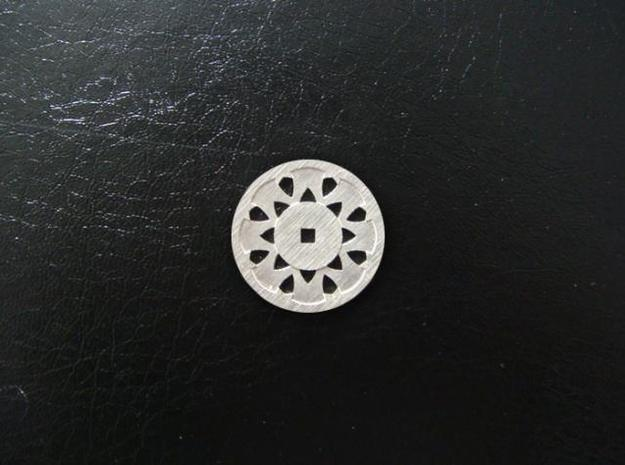 Round Pendant - Suspended Coin 3d printed Sterling Silver