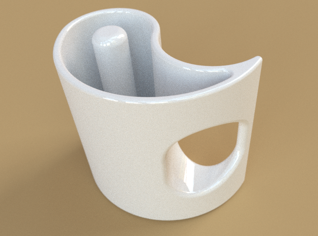 Yin-Yang Espresso Cup, clockwise variant 3d printed A single cup, in white ceramic.