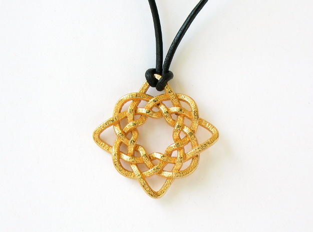 Celtic Compass 3d printed Rear face of the pendant, printed in polished gold steel
