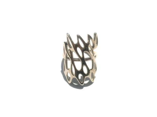 Fantasia Ring 3d printed Polished Silver