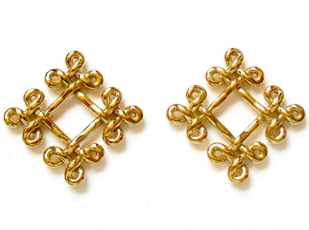 Fractal Celtic knot earrings 3d printed Printed in polished brass