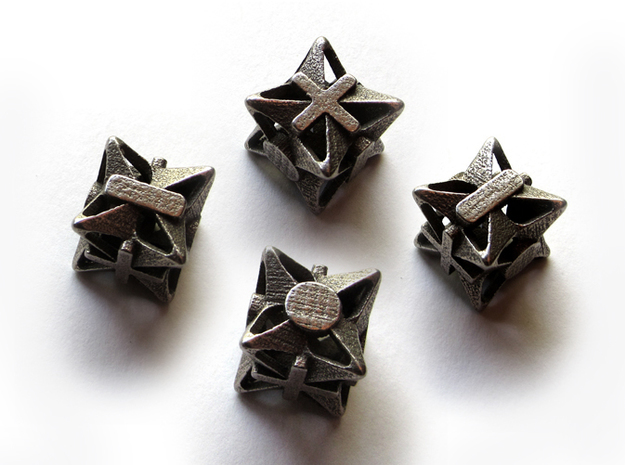 Fudge Pinwheel Die6 4d6 Set 3d printed In stainless steel
