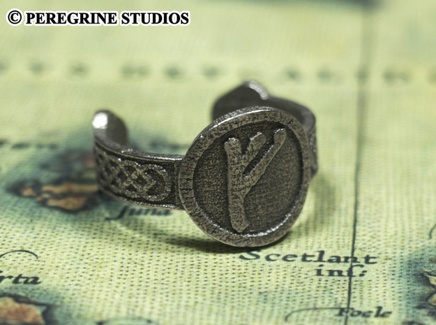 Ring - Fehu Rune (Size 13) 3d printed Stainless Steel