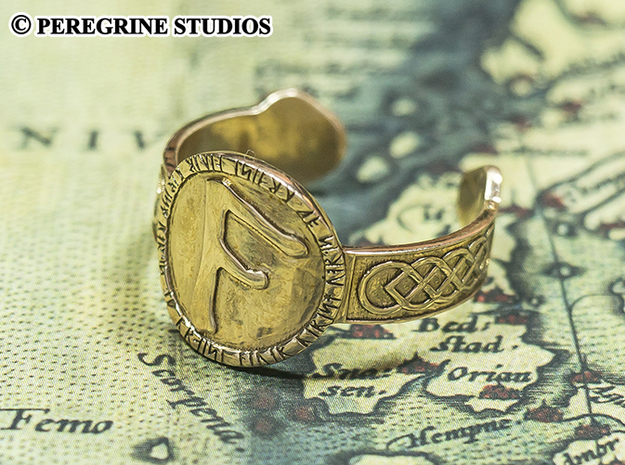 Ring - Fehu Rune (Size 13) 3d printed Polished Bronze (Ansuz Rune)