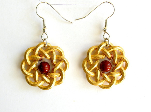 Woven Starburst Earrings - Small 3d printed Printed in polished gold steel, with earring findings added