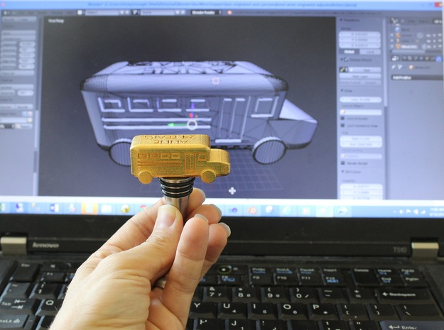 School Bus Wine Topper 3d printed Behind the Scenes of School Bus Wine Stopper (in Gold Polished Steel)