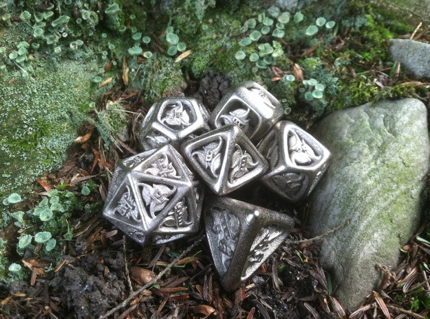 Tengwar Elvish D8 3d printed Complete Set Printed in Polished Nickel Steel
