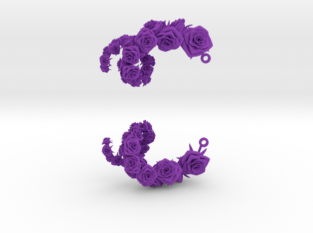 Rose Earrings 3d printed
