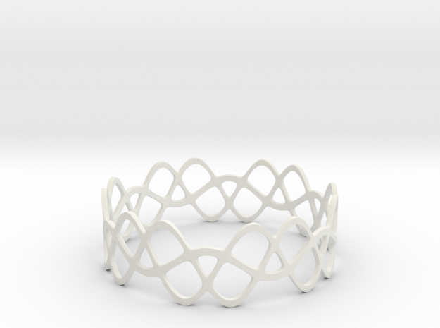 Braided Wave Bracelet (67mm) 3d printed in polished silver