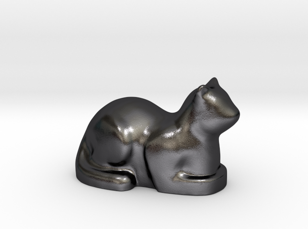 Stylized Cat 3d printed Polished Grey Steel